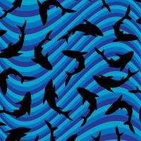 Motif Requin noir à rayures ondulées vecteur