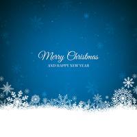 Fond de Noël bleu avec bordure blanche de flocons de neige
