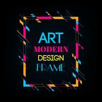 Image de vecteur pour les graphiques de texte art moderne. Cadre dynamique avec des formes géométriques abstraites colorées élégantes autour d'elle sur un fond noir. Lignes de couleur néon à la mode dans un style moderne.