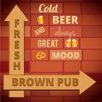 Affiche de bière vintage. Modèle d'affiche rétro pour une bière. Disposition de vecteur publicitaire pour pub.