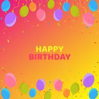 Fond d'anniversaire coloré avec des ballons et des confettis
