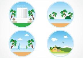 Ensemble vectoriel de fond de vacances d'été circulaire