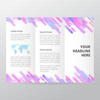 Brochure à trois volets à géométrie violette. modèle de brochure d'entreprise, brochure de tendance. vecteur