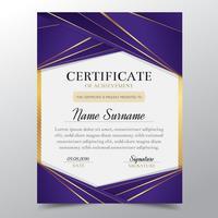 Modèle de certificat avec luxe élégant design doré et violet, remise des diplômes diplôme, récompense, réussite. Illustration vectorielle