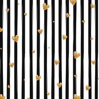 Modèle sans couture de confettis coeur scintillant or sur fond rayé