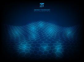 Modèle hexagonal de technologie abstraite brillant lueur fond numérique futuriste. vecteur