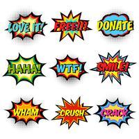 Mots de bande dessinée. Jeu de bulles de discours comique