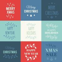 Cartes de Noël avec typographie vecteur