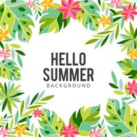 Fond d'été de fleurs et de palmiers tropicaux. Invitation florale exotique, flyer ou carte vecteur