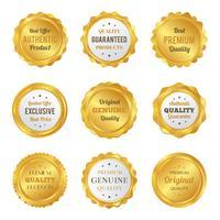 Insignes et étiquettes de luxe en or Produit de qualité supérieure vecteur
