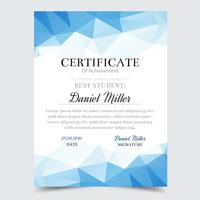 Modèle de certificat avec un design élégant géométrique bleu, remise des diplômes diplôme, récompense, succès.