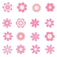 Ensemble d'icônes de fleurs roses vecteur