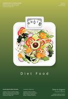 Salade de légumes, aliments biologiques, affiche, modèle, illustration vectorielle