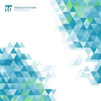 Triangles bleus abstraits géométriques sur fond blanc.