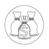 Icône de sac d'argent vecteur