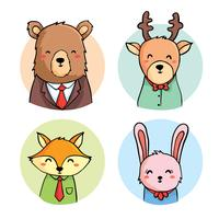 Main dessinée Cute Business Animal Collection Vector