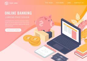 Page d'atterrissage de banque en ligne isométrique Vector