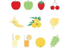 Ensemble vectoriel de jus et de fruits