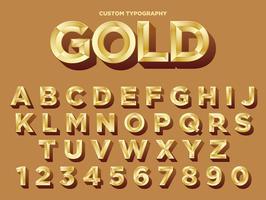 Design de typographie dorée vecteur