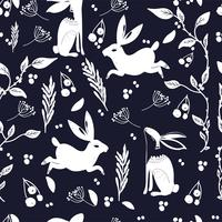 Modèle d'art populaire scandinave avec des bannies et des fleurs vecteur