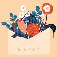 Fleurs d'art scandinave folklorique dans l'enveloppe Carte de voeux vecteur