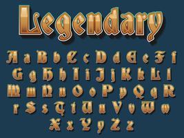 Typographie médiévale dorée vecteur