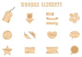 Pack d'éléments vectoriels en bois vecteur