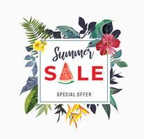 signe de vente d'été avec illustration de fleurs tropicales vecteur