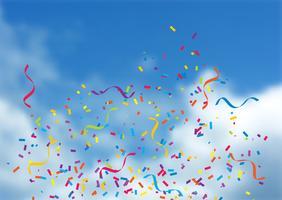 Confettis et banderoles sur fond de ciel bleu vecteur