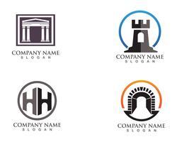 logo et symboles de la forteresse vecteur