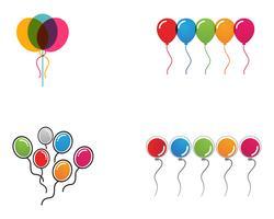 Voler des ballons festifs de vecteur brillant avec des ballons brillants pour des vacances