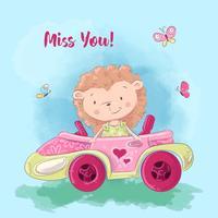 Bande dessinée illustration d'un hérisson mignon sur la voiture. Illustration vectorielle
