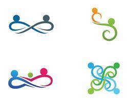 Infinity people Icône d'adoption et de soins communautaires Logo template vecteur
