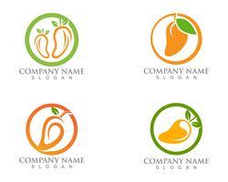 Logo de mangue et modèle de vecteur de fruits icône