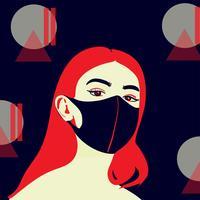 les gens portent un vecteur de masque de protection