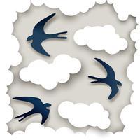 Motif de nuages de hirondelles vecteur