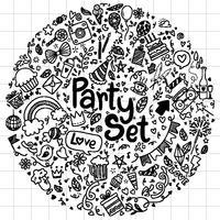 Style de griffonnage vecteur illustration dessinés à la main doodle ensemble de fête joyeux anniversaire ementevent