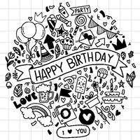 main dessinée illustration vectorielle joyeux anniversaire ornements dessinés à main levée fond doodle ementevent modèle fête