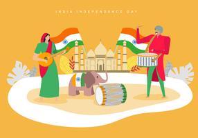 Personnes célébrant le jour de l'indépendance de l'Inde vecteur