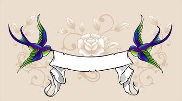 Hirondelle avec ruban vecteur