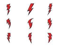 Vecteur d'icônes éclair coup de foudre éclair