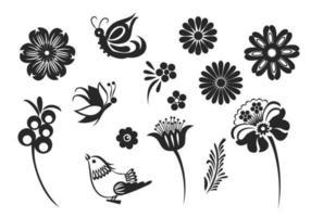 Pack stylé de vecteur papillons et fleurs