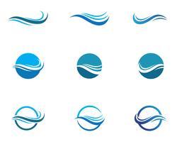 Symbole et icône de la vague d'eau Logo Template vecteurs vecteur