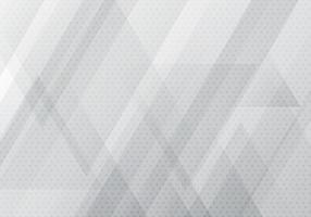 Bannière géométrique abstraite blanche et grise avec des formes de triangles superposent la texture d'arrière-plan et de demi-teintes.