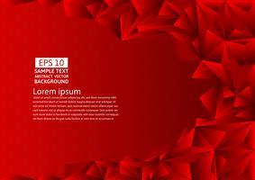 Fond abstrait vectoriel polygone rouge avec espace copie, illustration vectorielle