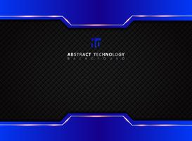 Modèle bleu et noir contraste fond de technologie abstraite.