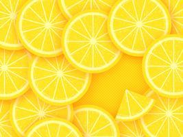 Agrumes citron sur fond jaune vecteur