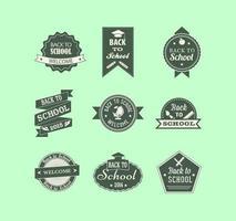 Vintage retour à pack étiquette vecteur école