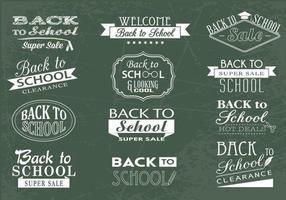 Ensemble vectoriel de voeux au tableau arrière et à l'école
