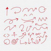 Main, dessin, flèches doodle, set, icône, illustration vectorielle